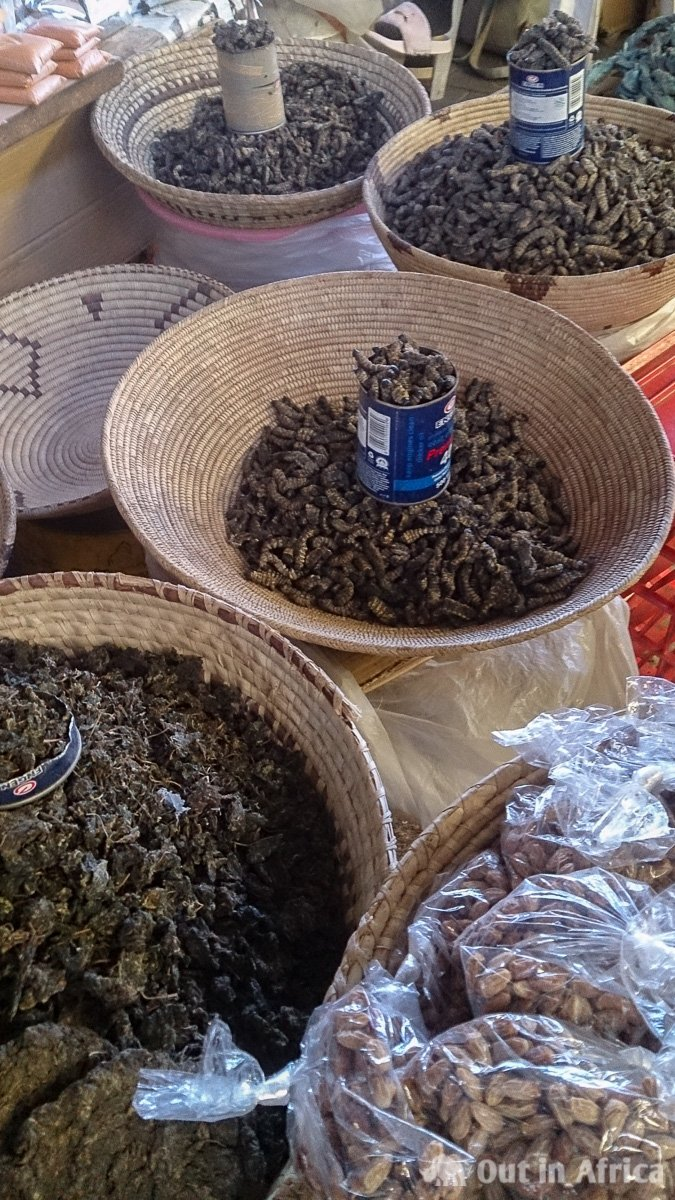 Wild spinach, eembe and mopane worms
