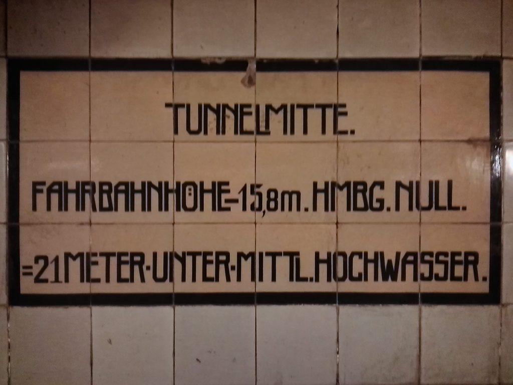 In the middle of the Elbe tunnel