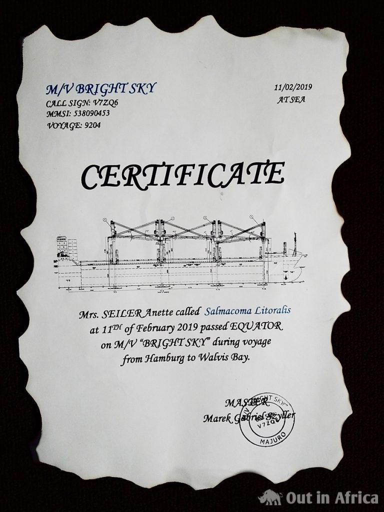 Urkunde zur Äquatorüberquerung