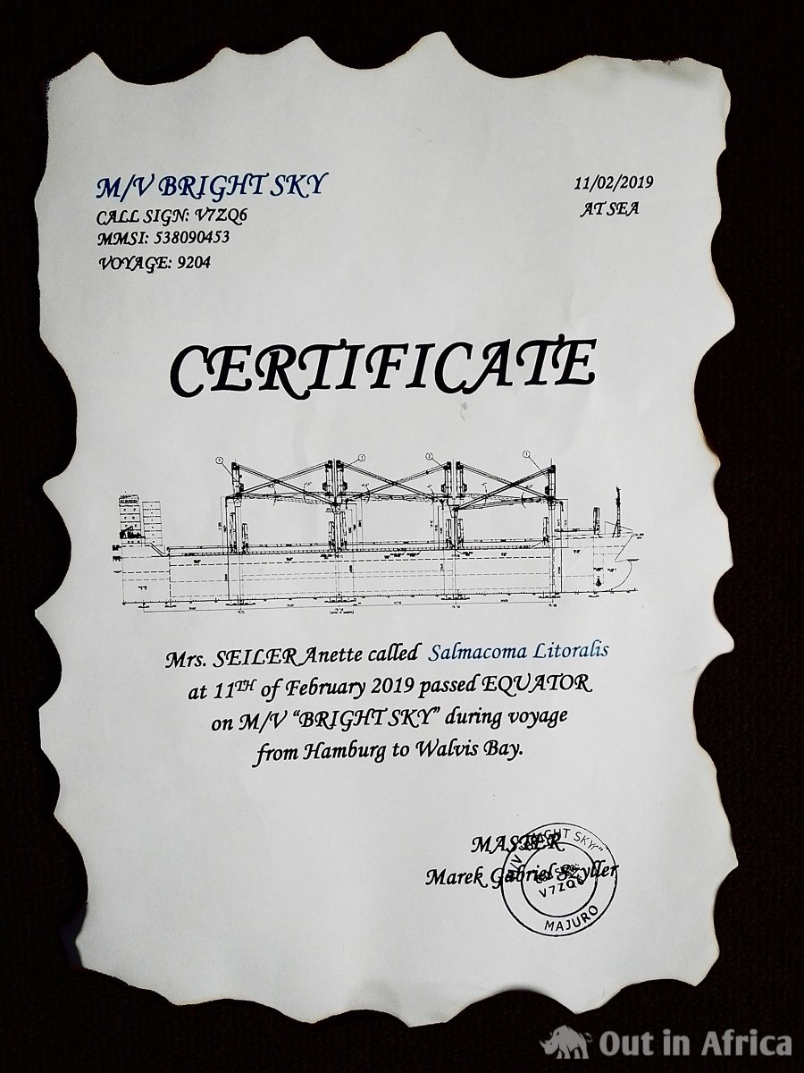 Certificate of crossing the equator