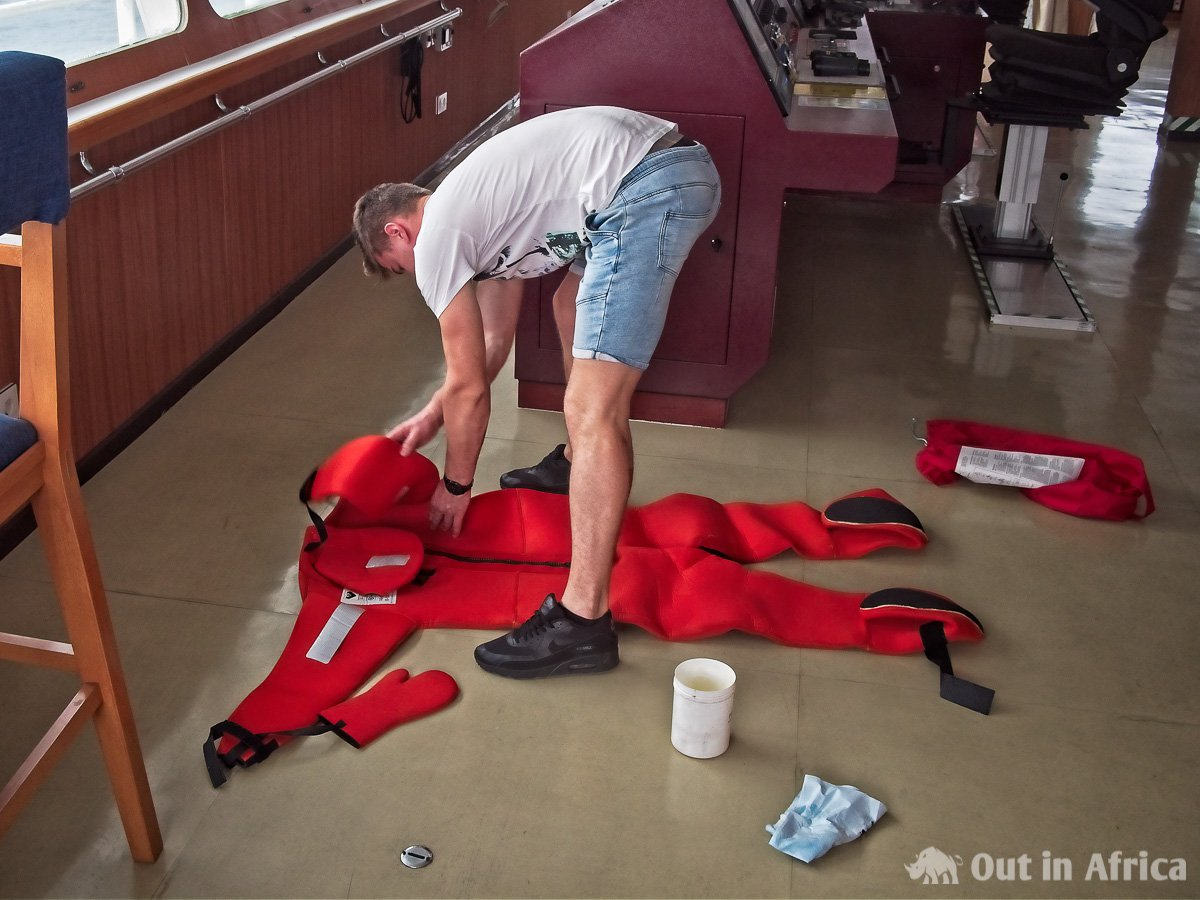 Checking the rescue suits