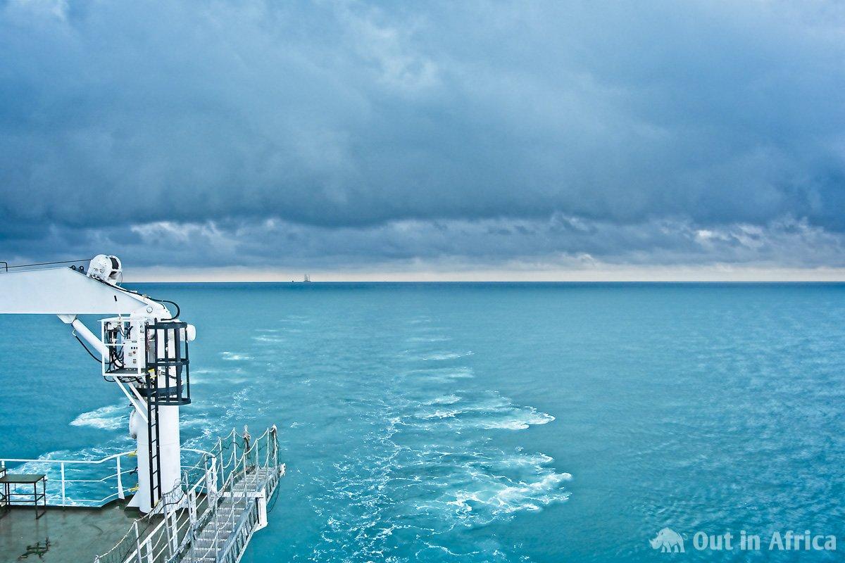 Oil platform at the rear of Bright Sky