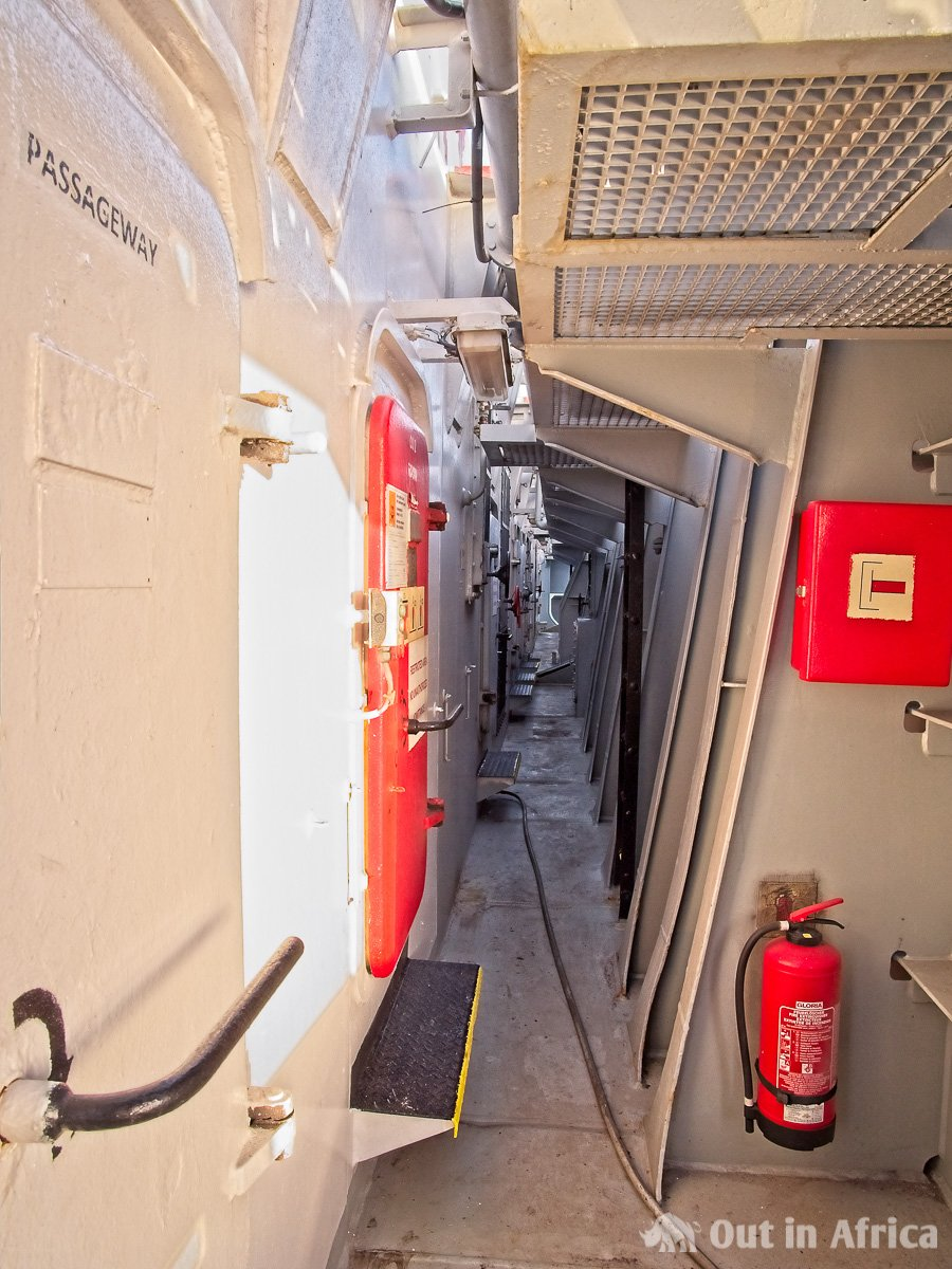 Between the cargo holds