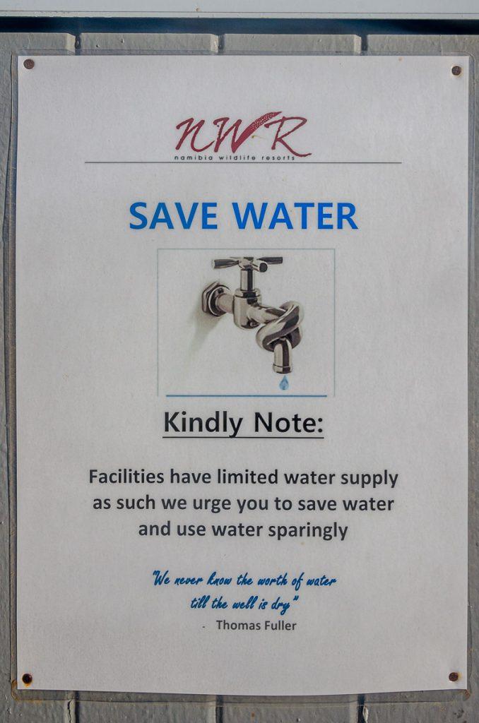 Aufforderung zum Wassersparen