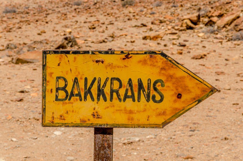 Schild Bakkrans